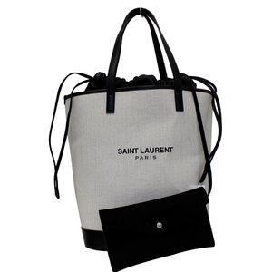 YVES SAINT LAURENT TEDDY CANVAS/LEATHER DRAWSTRING